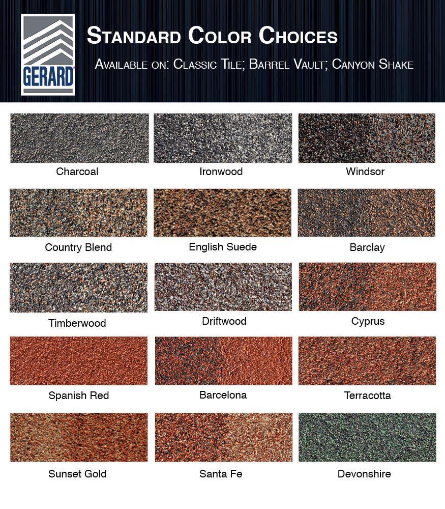 Gerard stone coated steel roofing dallas steel roofing for Roof color